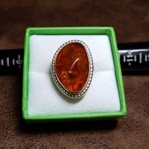 Sterling silver and Baltic Amber ring, size 7.50